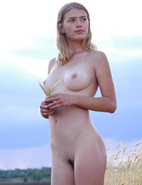 Vilia in a field