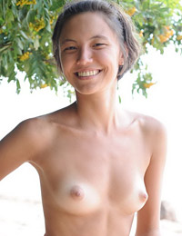 Smiling rita strips in the forest