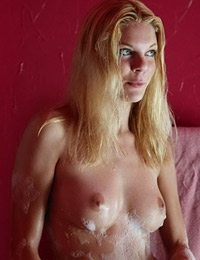 Wet steph in red bathroom